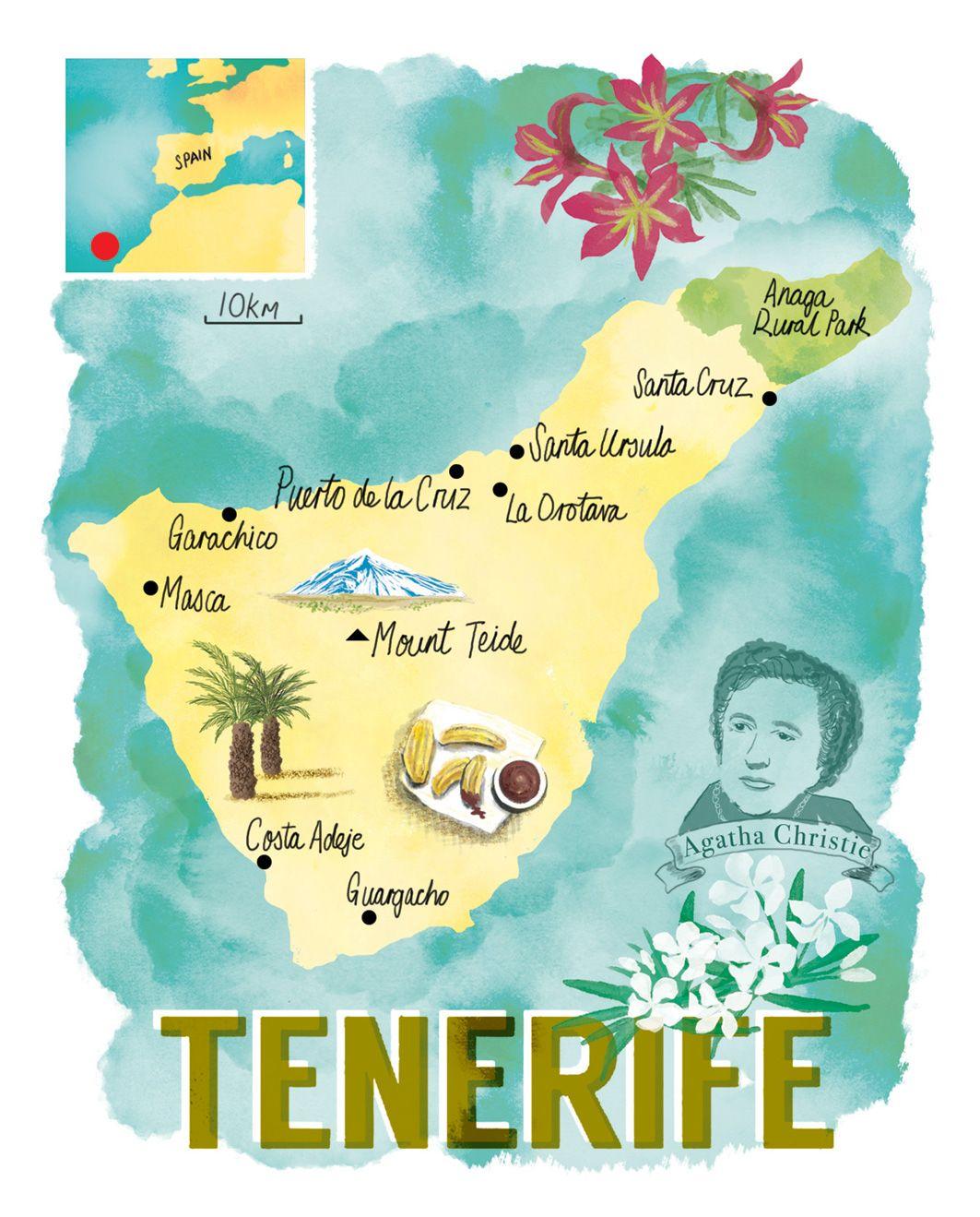 Tenerife Map By Scott Jessop Travel Postcard Tenerife Travel