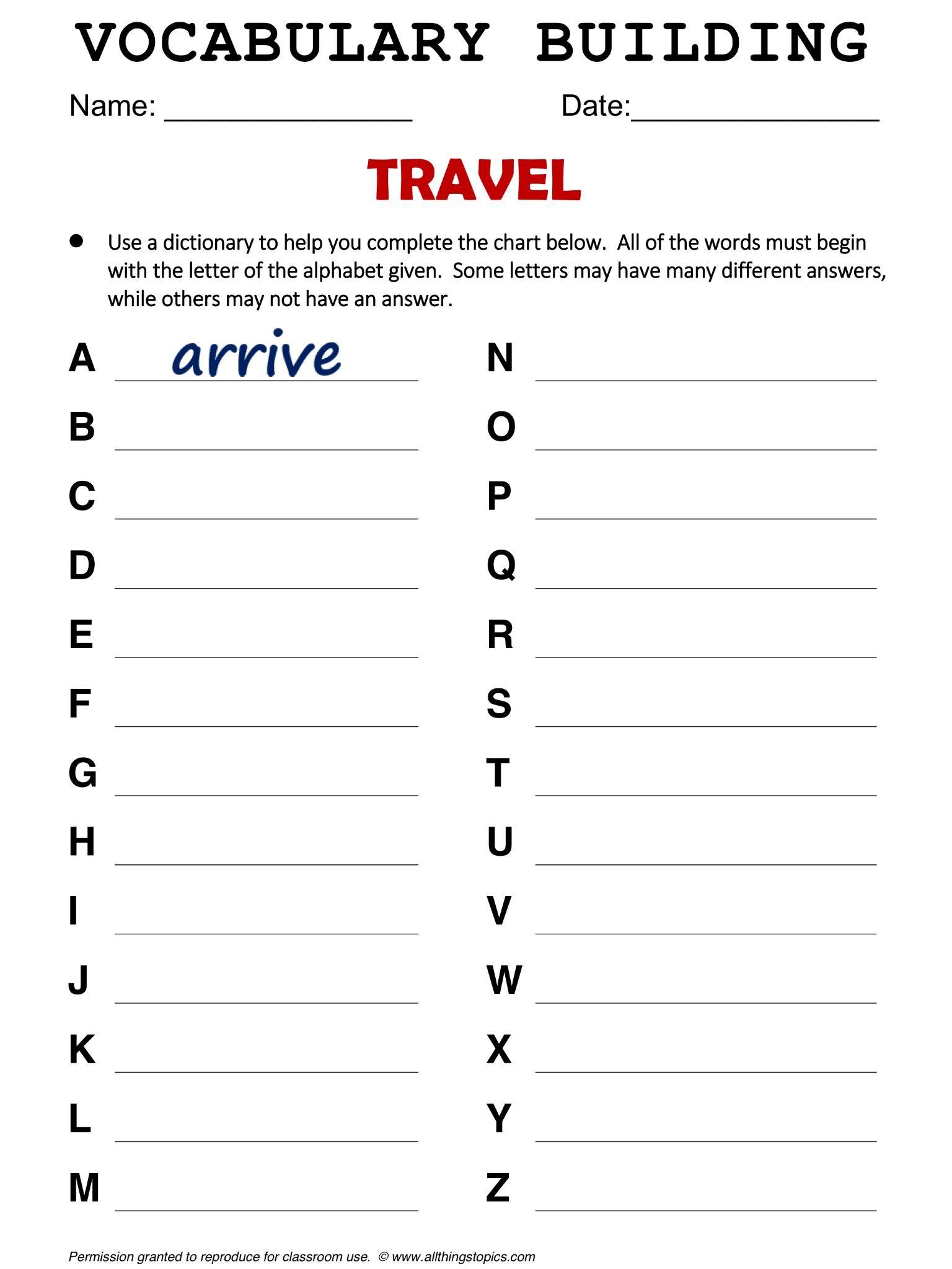 Travel English Vocabulary