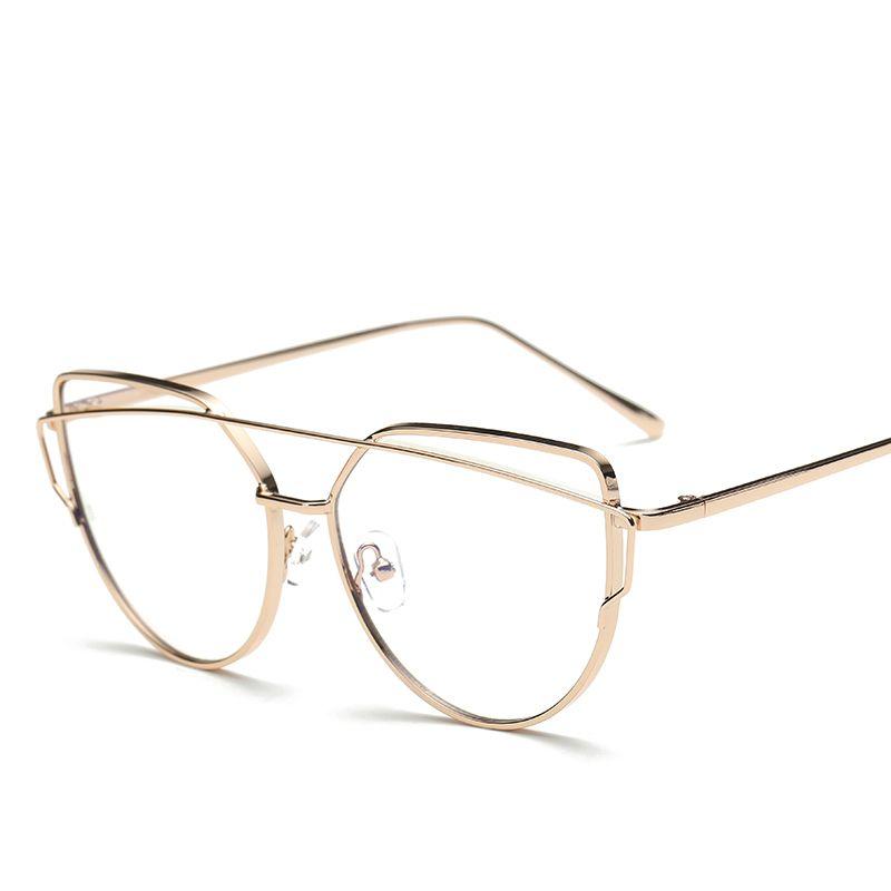 6f79eb91cc95 Rose Gold Polygon Metal Frame Eyeglasses Clear Lens Fake Glasses Oversized  Spectacle Eyewear Frames For Women Men Oculos De Grau