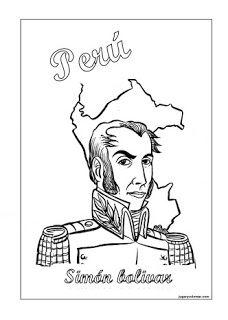 Simn Bolvar Dictador del Per para colorear  Per  Pinterest