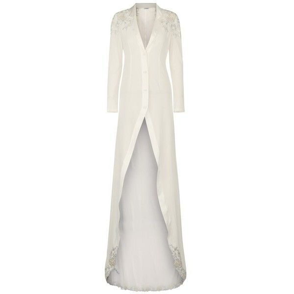La Perla Peony OffWhite Long Robe In Embroidered Tulle And Silk ...