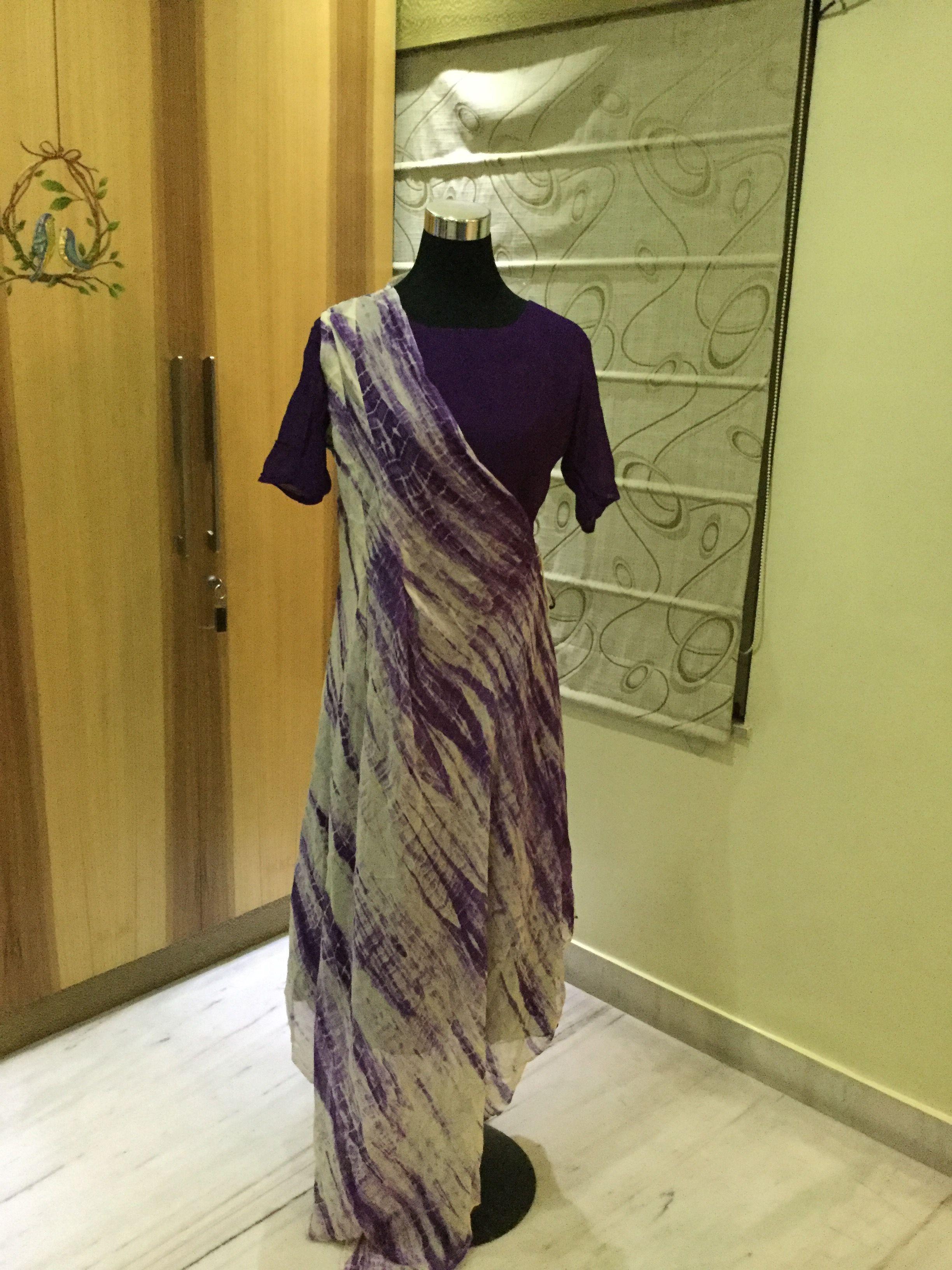 Tye n dye georgette  drape by cliffangel