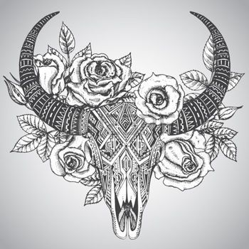 Cow Skull Decorative Indian Bull Skull In Tattoo Tribal Style With
