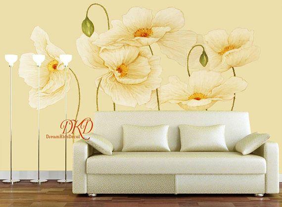 Mur murales, papier peint, grande fleur beige sur mur du0027oie jaune, à - repeindre du papier peint