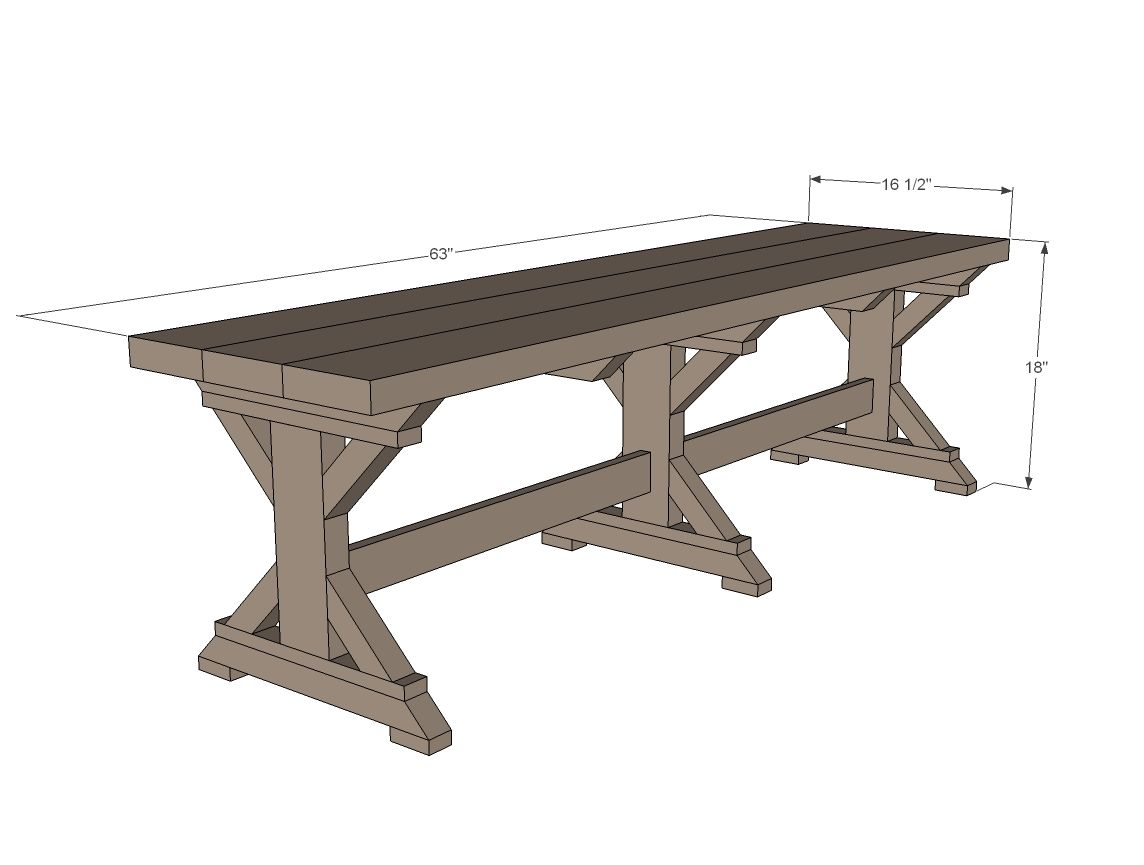 Farmhouse bench woodworking plans woodshop plans -