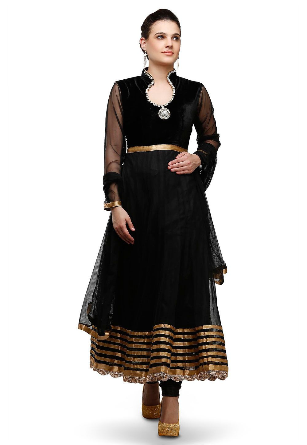Modern readymade saree velvet and net anarkali kameez with shantoon lining in black this