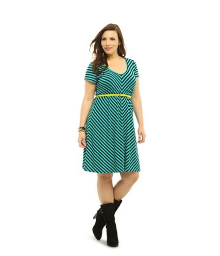 Emerald Green Mitered Stripe Belted Dress, USD $54.50 from Torrid