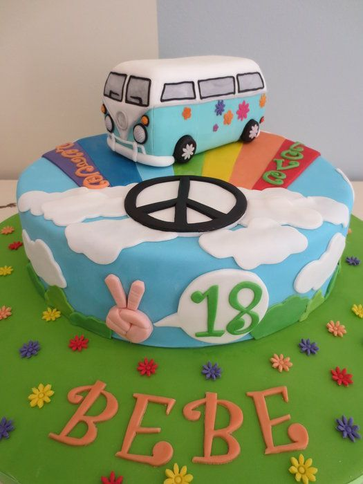 Marvelous Peace And Love Cake Hippie Cake Peace Cake Hippie Birthday Funny Birthday Cards Online Unhofree Goldxyz