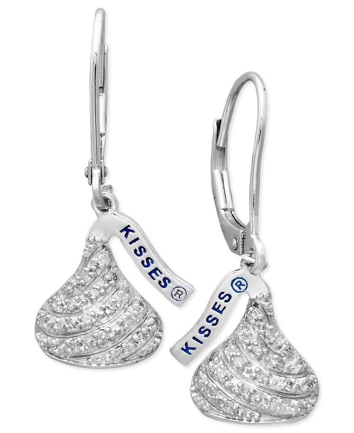 fa51444edb153 Sterling Silver Hershey's Kiss Earrings, Diamond Drop Earrings (1/6 ...