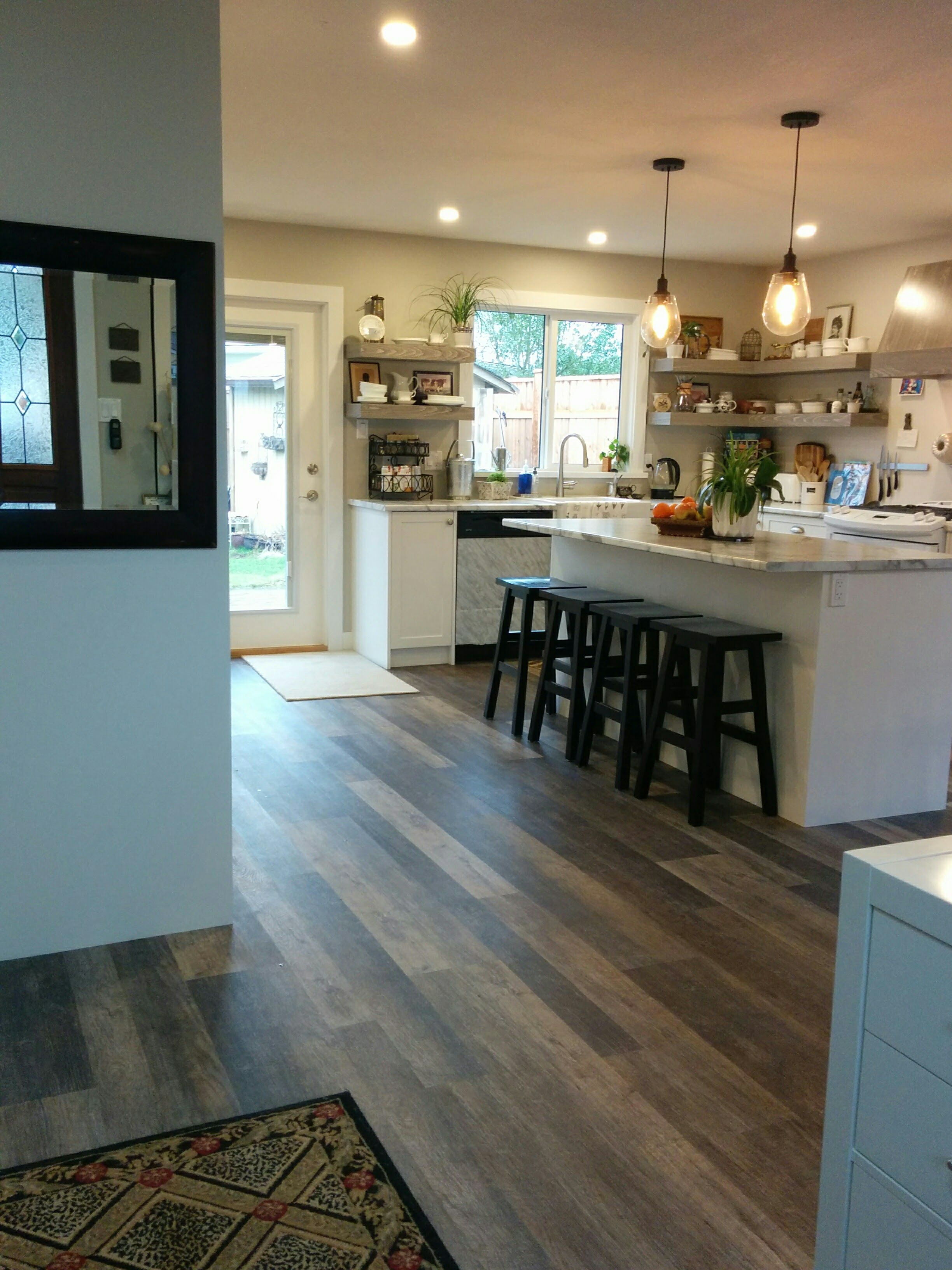 We Opted For Open Shelving In The Part Of The Kitchen That Is Visible From The Front Entrance Area Hallway Vinyl Plank Flooring Kitchen Renovation Front Door