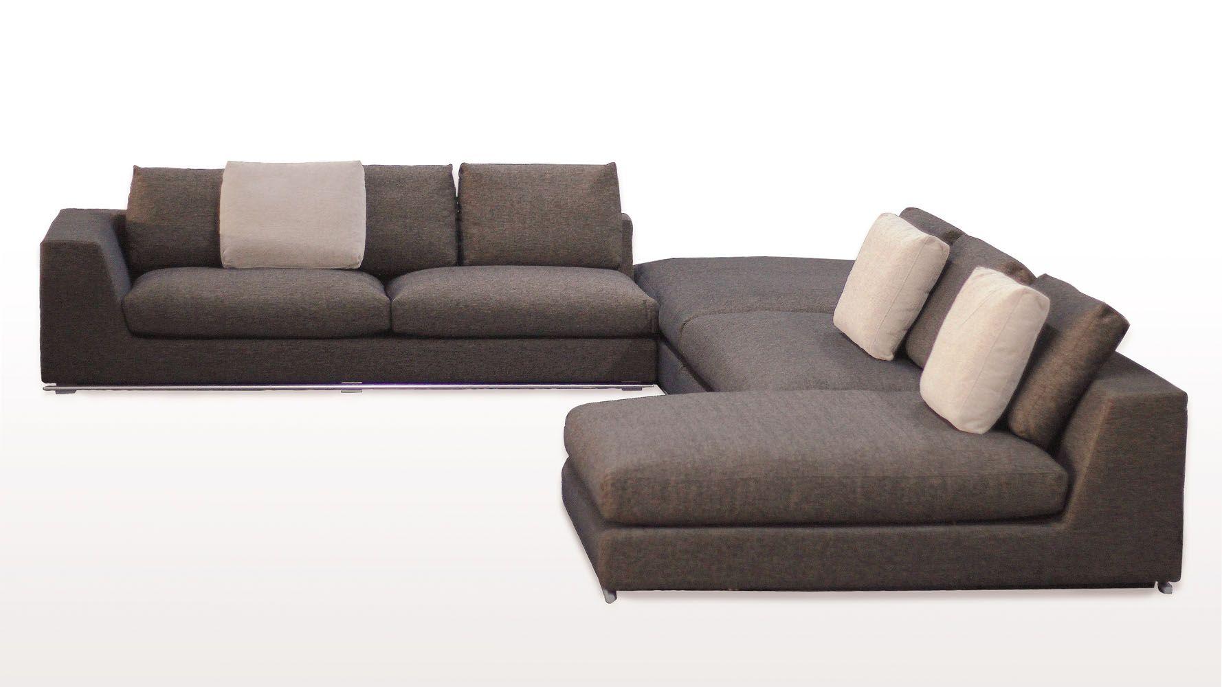 Comodo Sectional Sofa With Ottoman Charcoal Zuri Furniture