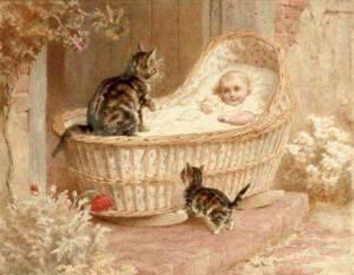 Helena J. Maguire (Inglaterra, 1860-1909). Admiring The New Arrival.