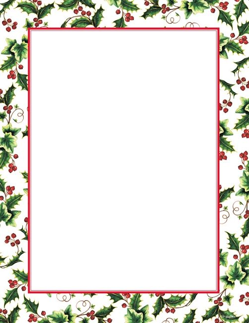 Free Christmas Letter Borders Geographics® Holly Ivy Border