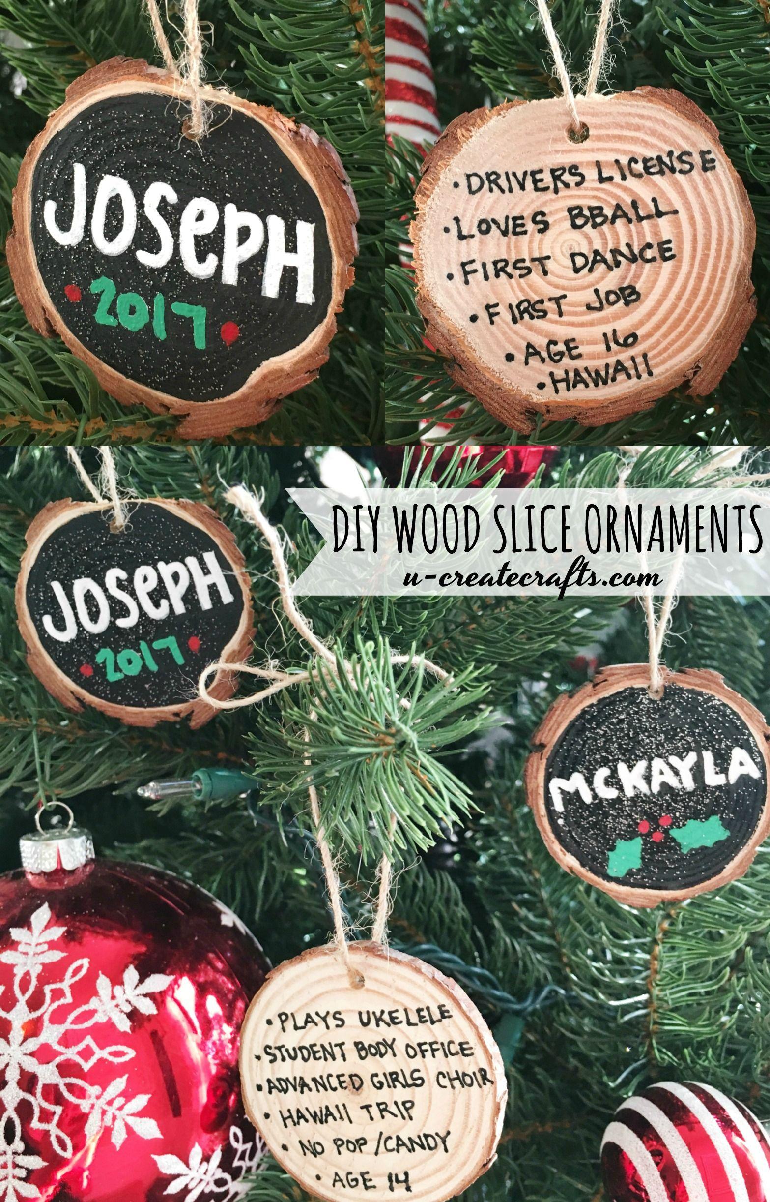 Diy Wood Slice Ornaments U Create Family Christmas Ornaments Diy Christmas Ornaments Wood Christmas Ornaments