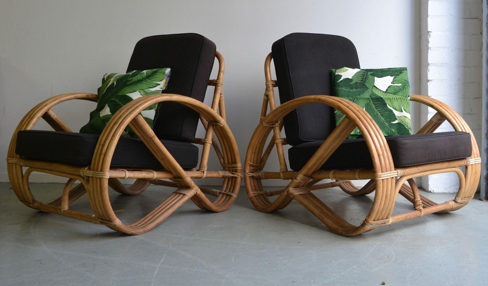 Retro Vintage Manila Cane Bamboo Armchairs X 2 Pretzel Chair Boho Beachouse Cane Outdoor Furniture Rattan Garden Furniture Vintage Chairs