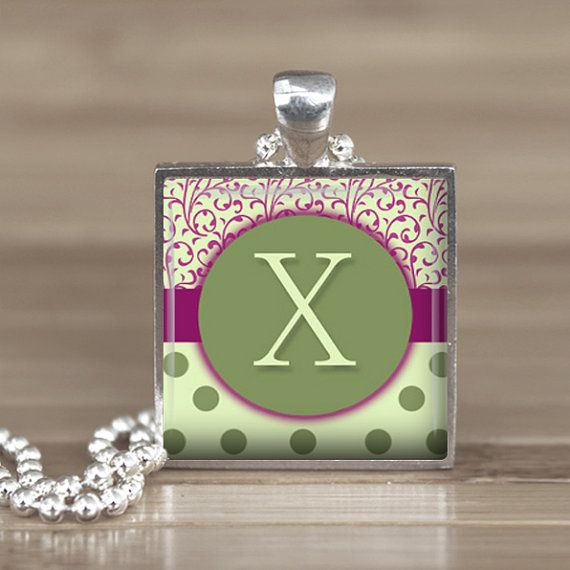 25mm Green Letter X Initial in a Silver Square by Aleareashop, $7.95