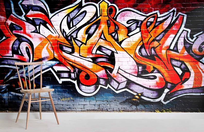 3d Vibrant Urban Culture Red Graffiti Wallpaper Removable Self Adhesive Wallpaper Wall Mural Vintage Art Peel And Stick Graffiti Wallpaper Graffiti Art