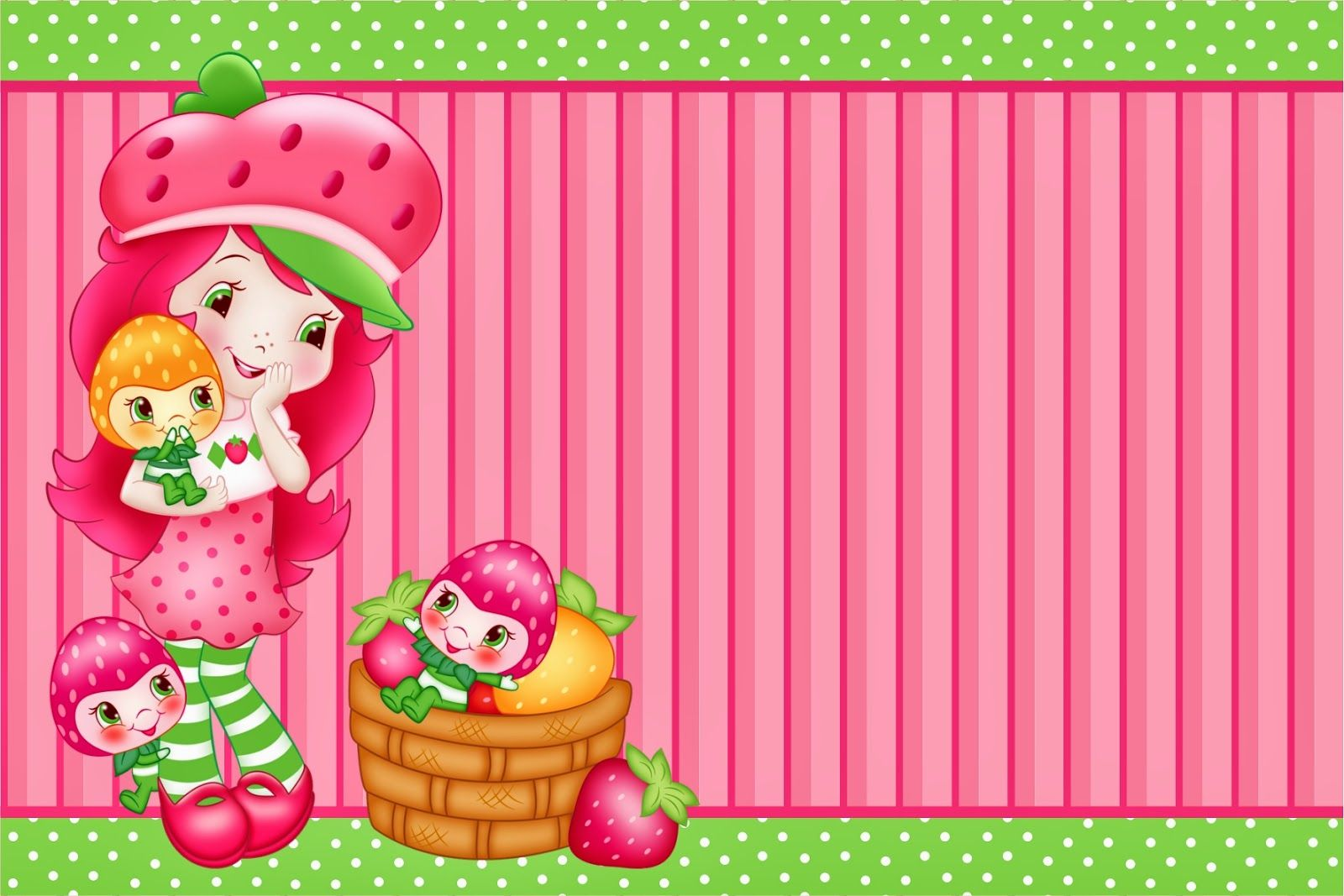 Strawberry Shortcake Free Printable Invitation Card Bunting Or