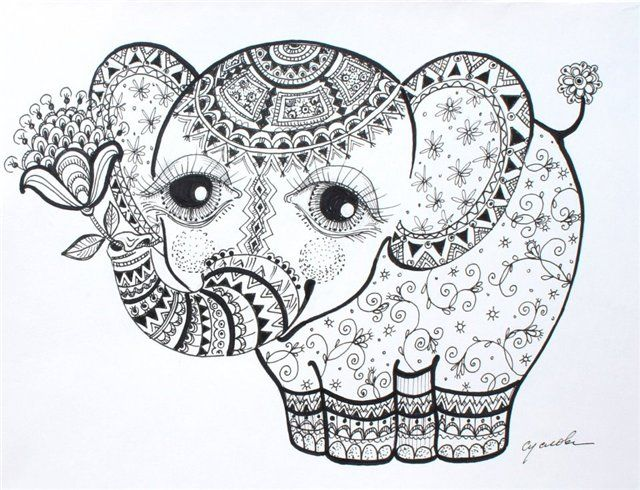 elephant calf abstract doodle zentangle zendoodle paisley coloring pages colouring adult detailed advanced printable kleuren voor