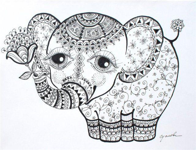 Elephant Calf ольга суслова Doodles Patterns Design Art