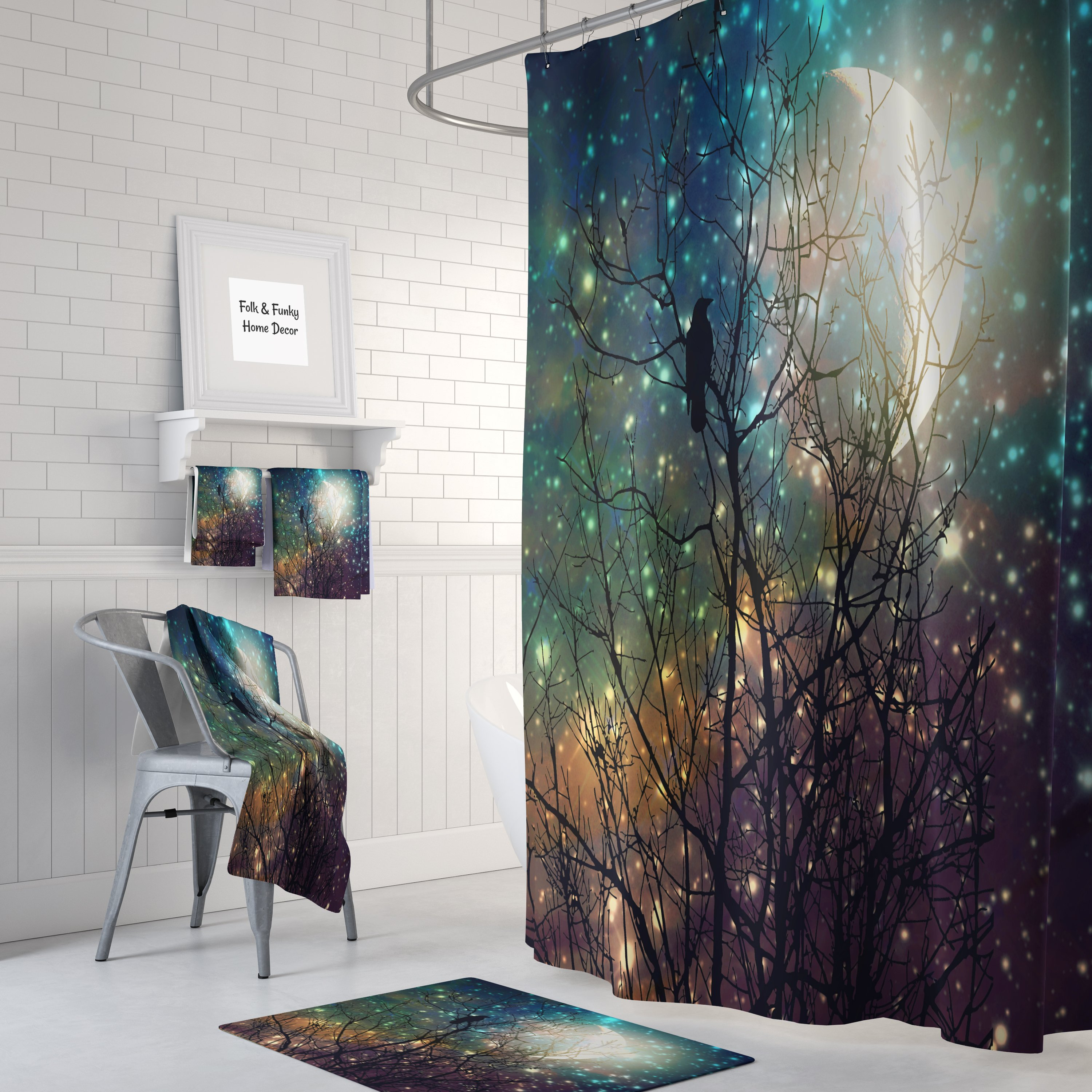 Crow Twilight Shower Curtain Large Shower Curtains Dream Shower Curtains