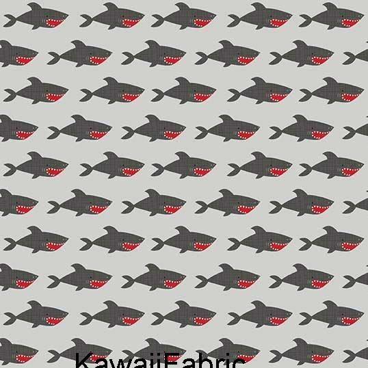 Blackbeard/'s Pirates Sharks on grey 100/% cotton Riley Blake