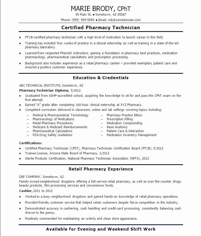 Entry level pharmacy technician resume lovely free