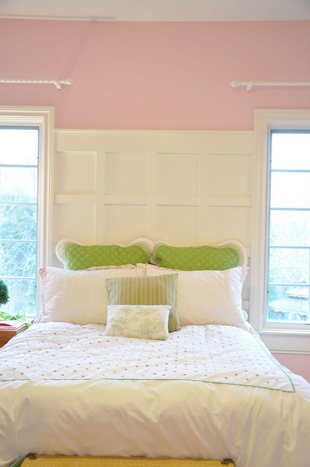 A Pretty Paneled Headboard Wall Bedroom wall, Interior, Home