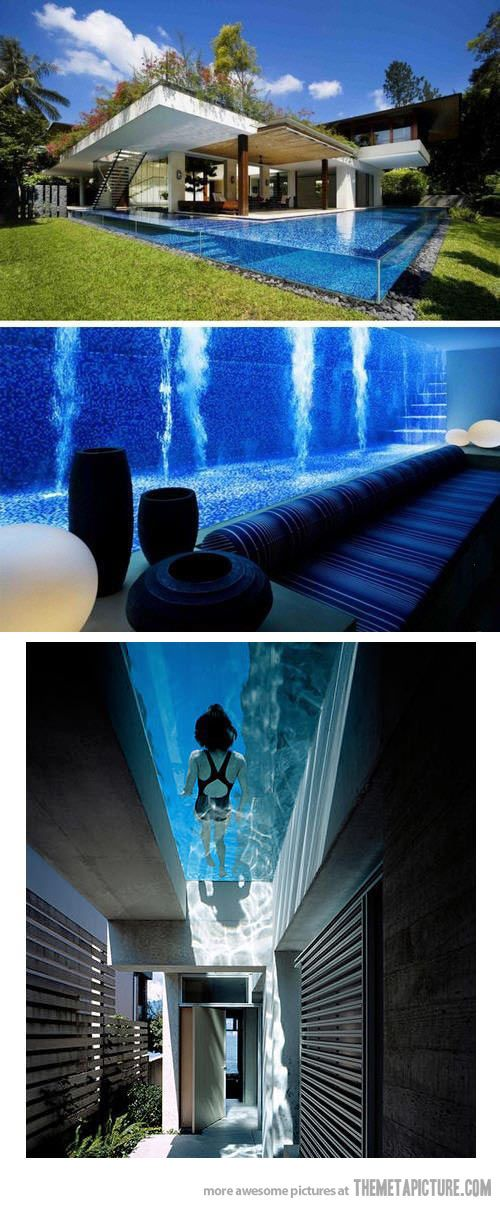 Amazing swimming pool inside your house… Acrylyc / Blue / Green / Transparent / Summer
