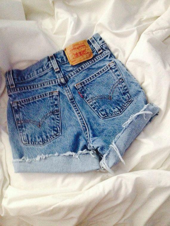 Levi brand high waisted shorts mid wash on Etsy, $10.00