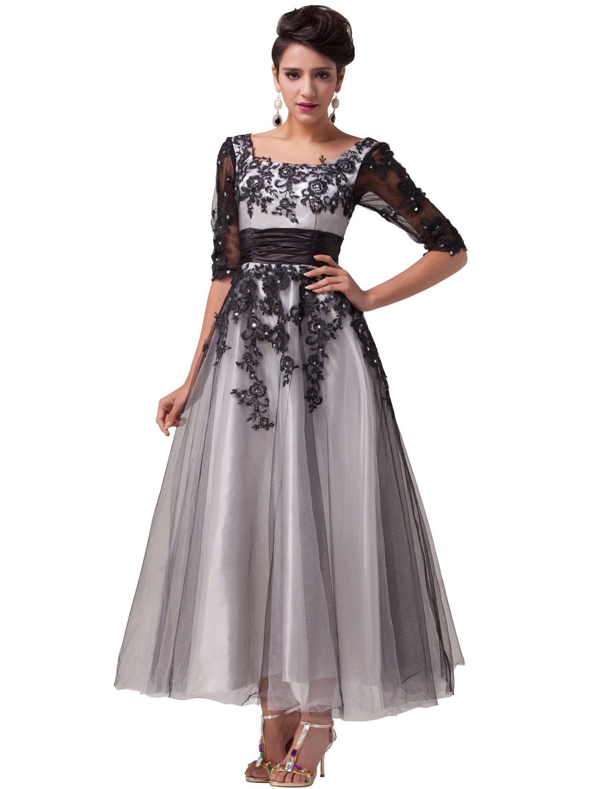 Grace karin womenus black tulle embroidery half sleeve long formal