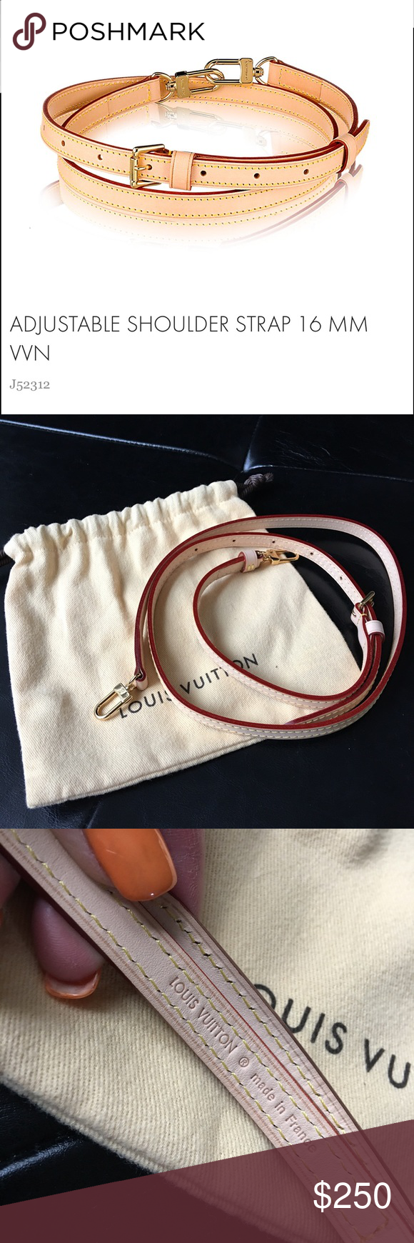 ec13481940 Louis Vuitton adjustable shoulder strap 16mm vvn Worn twice for my ...