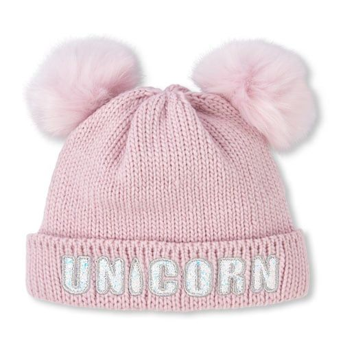 78afc9891e1 Girls Glitter Patch Faux Fur Pom Pom Hat