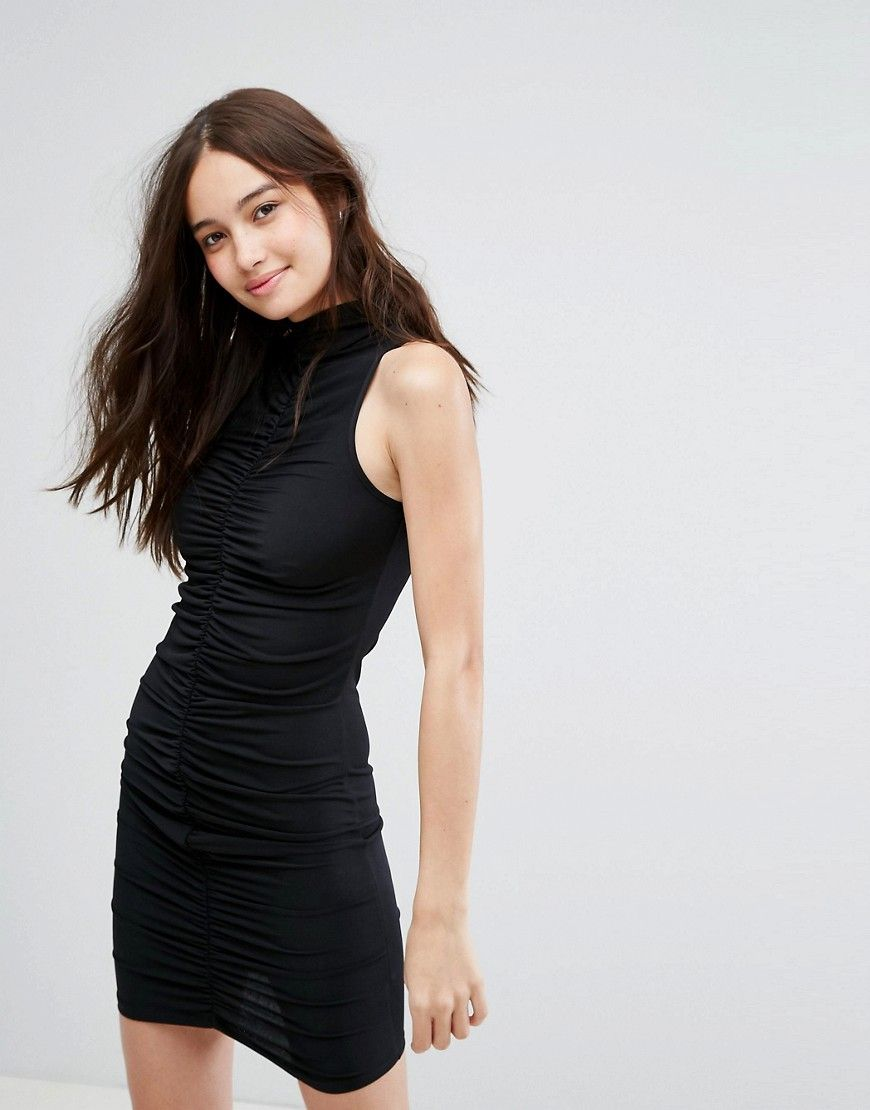 New look bodycon ruched mini dress black products
