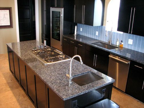 kitchen with blue pearl granite countertops, www