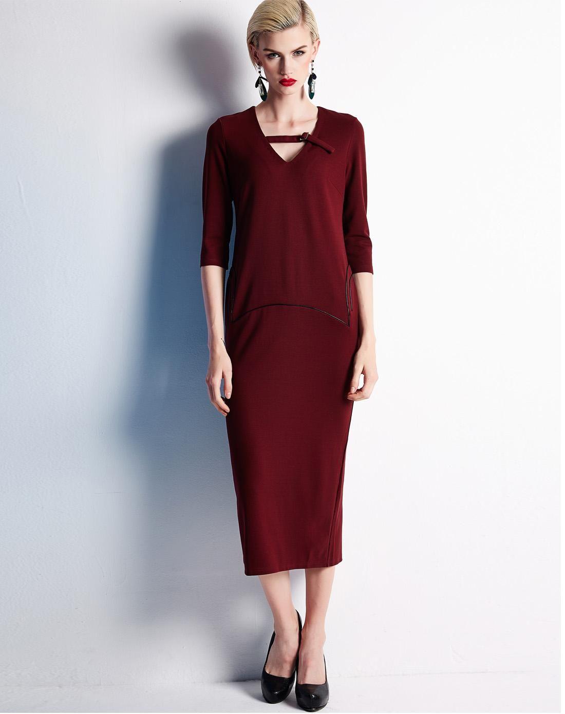 Adorewe vipme shift dresses snsteller red sleeve shift midi