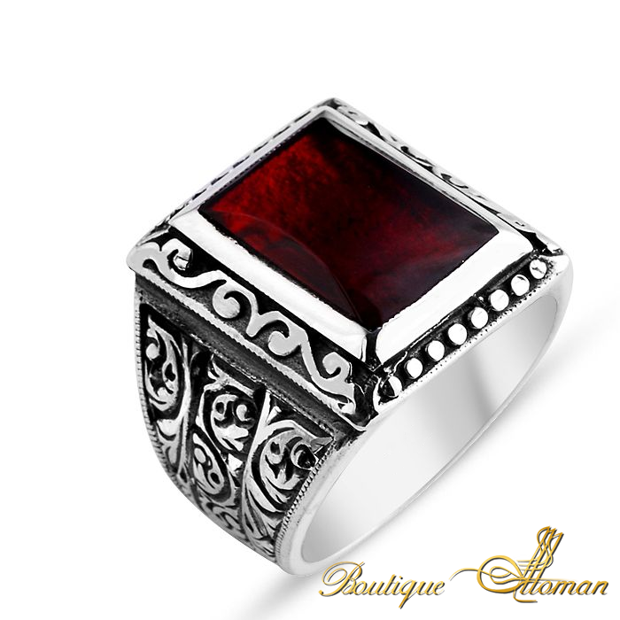 #luxury Hand Made Silver Man Ring Square Red Amber Stone  #jewelry #ottoman