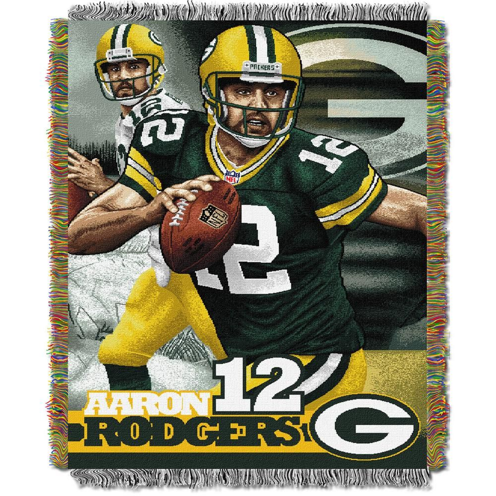 The Northwest Company Aaron Rodgers Green Bay Packers Polyester Throw Blanket Multi Colored Green Bay Packers Players Rodgers Green Bay Rodgers Packers
