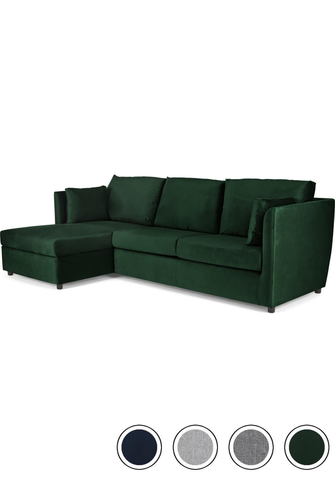 Made Bottle Green Velvet Corner Sofa Bed Foam Mattress Sofa Bed Corner Storage