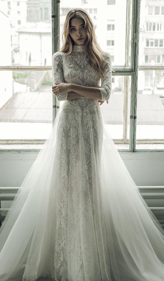 High Neck Quarter Length Sleeve Embellished Wedding Dress