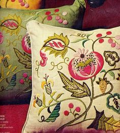 Vintage 1970s Jacobean Bloom Linen Pillow by allsfairyvintage