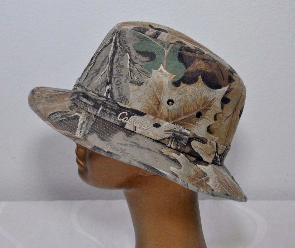 1a58a8444f0 Mens Cabela s Brown Camo Bucket Hat Lined Fishing Hunting Cap Size XL EUC   Cabelas  Bucket
