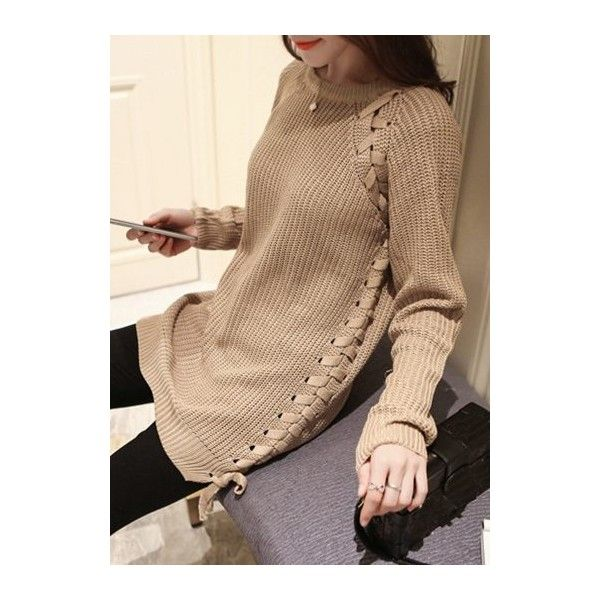 Lace Up Light Tan Long Sleeve Sweater ($29) ❤ liked on Polyvore ...