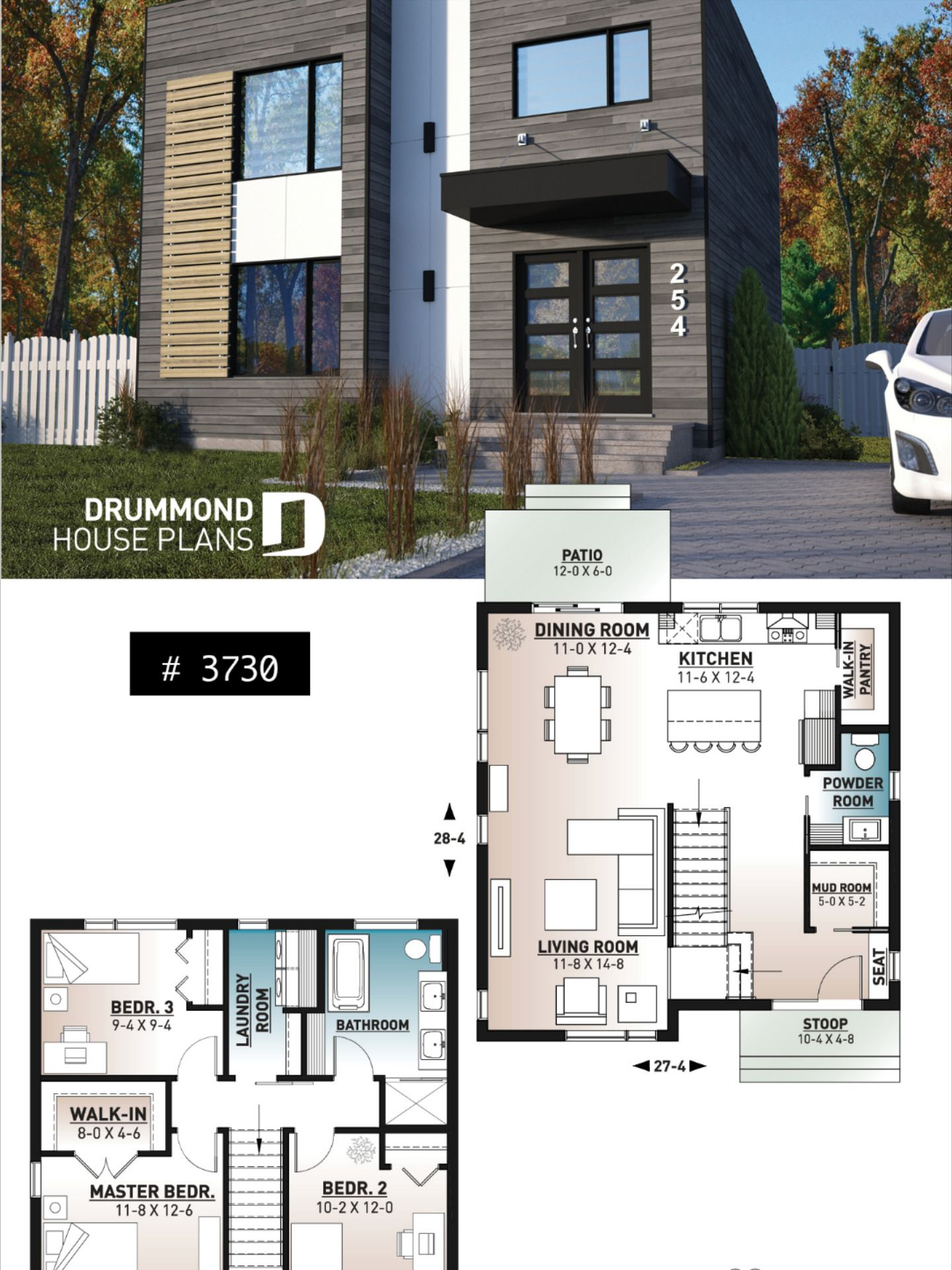 Discover The Plan 3730 Cubika Which Will Please You For Its 3 Bedrooms And For Its Modern Design Styles Modern House Floor Plans Sims House Plans Home Design Floor Plans