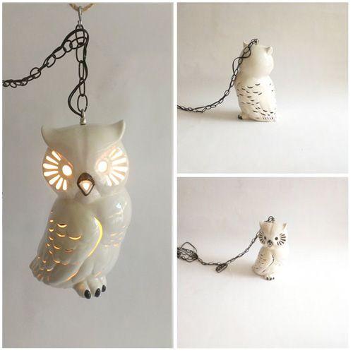 Mid Century Ceramic Owl Pendant Ceiling Light Fixture