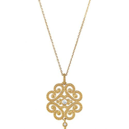 Vintage Filigree Diamond 14K Gold Necklace European Jewelry