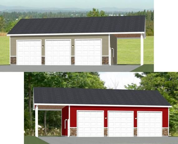 40x30 3 Car Garage 1200 Sq Ft Pdf Floor Plan Instant Etsy In 2020 Garage Door Styles 3 Car Garage Garage Door Types