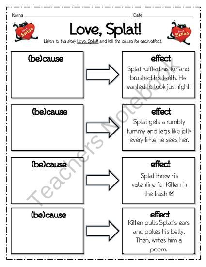 Love Splat the Cat Valentines Cause Effect Organizer from