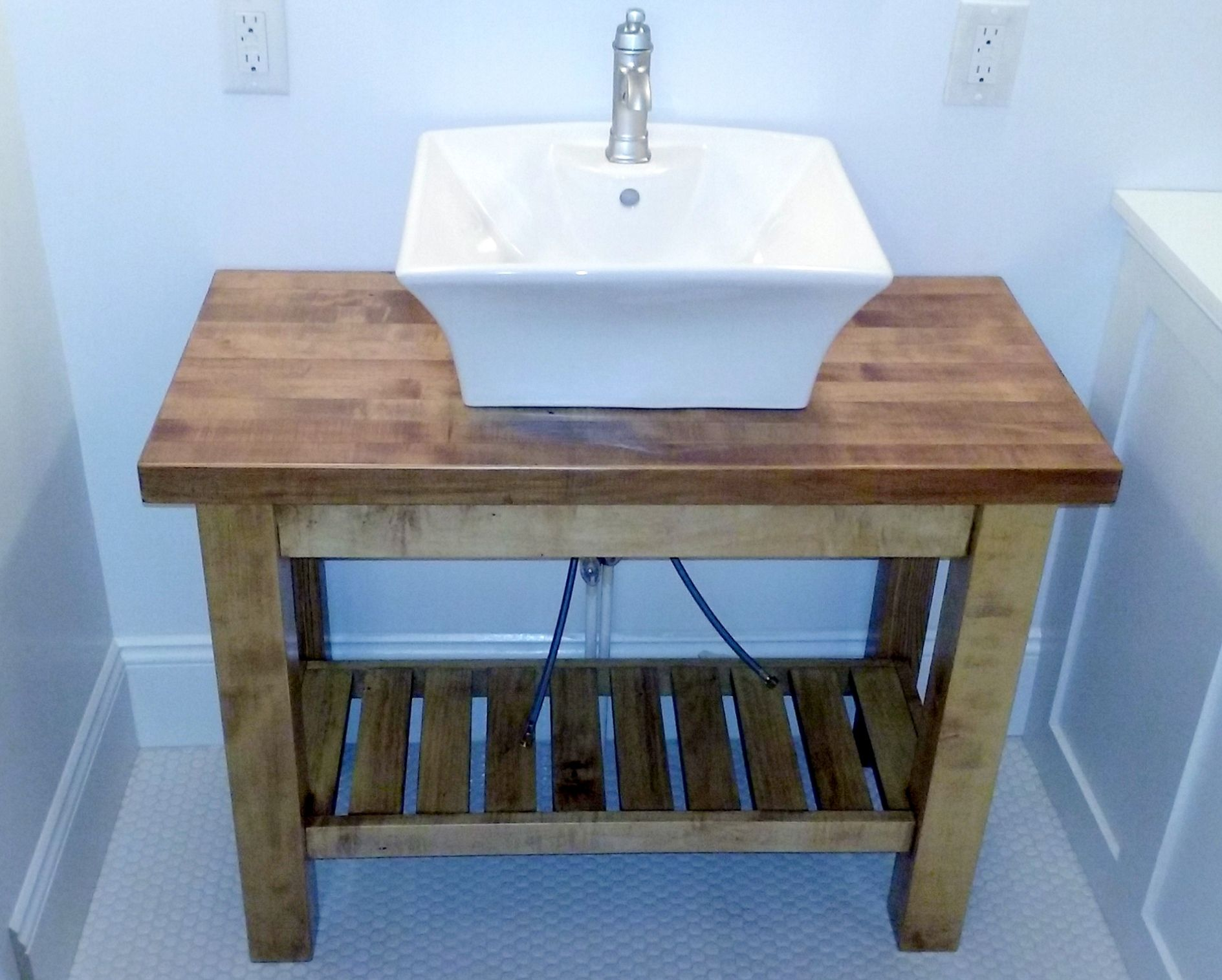Bathroom vanity base with butcher block top. | bathroom | Pinterest ...