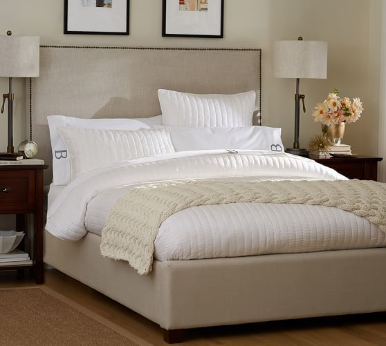 Pottery Barn King Size Headboard: Fillmore Square Upholstered Bed & Headboard